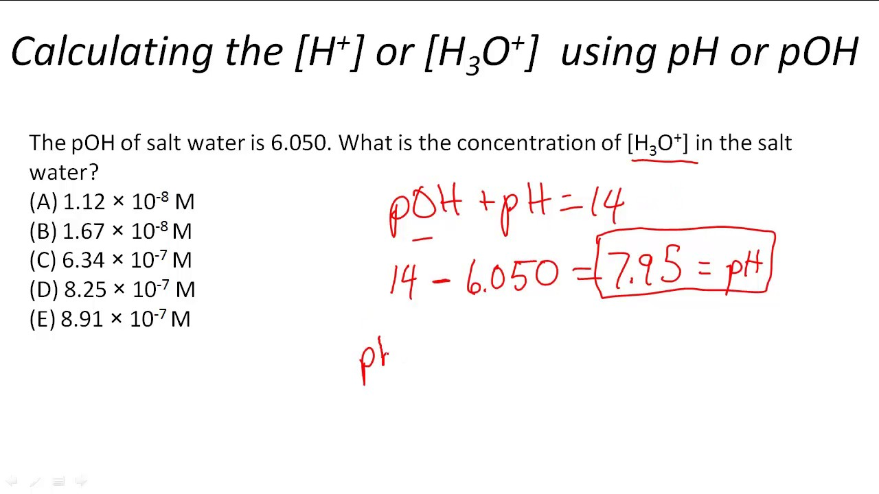 Calculating the H or H3O using pH or pOH YouTube – Ph Poh Worksheet