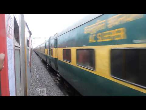 Late running VSKP SC AC express overtakes VSKP SC Garib Rath express at Moula Ali