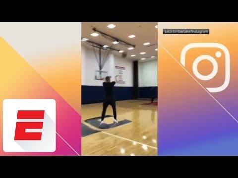See Justin Timberlake Sink Basket from Half Court! (ESPN)
