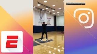Justin Timberlake makes basket from the logo | ESPN
