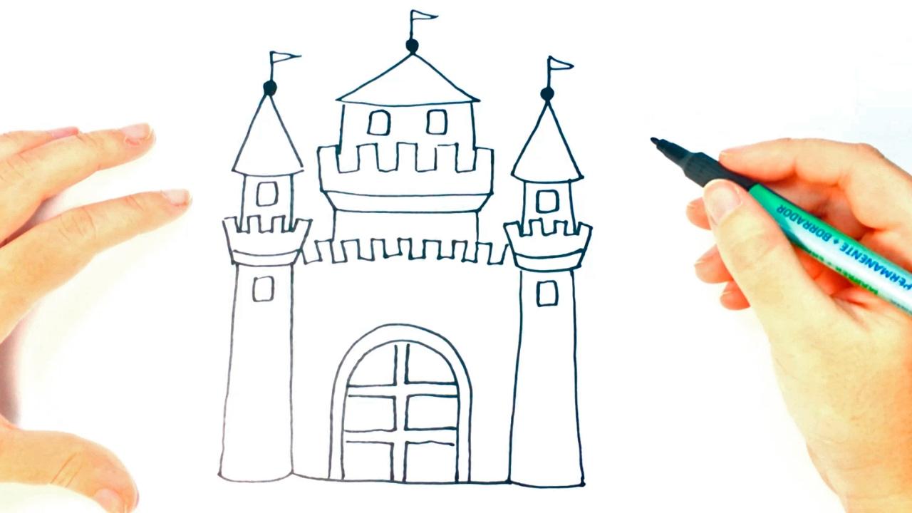 Cómo Dibujar Un Castillo Paso A Paso Dibujo Fácil De Castillo