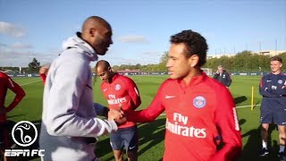 Kobe hangs with Neymar while enjoying a Paris-Saint Germain F.C. practice l ESPN