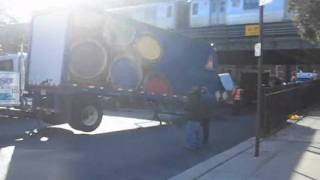 Truck Hits Overpass In Flatbush