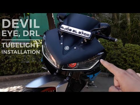 #yamaha #R15 #smartbike   Drl And Devil Eye Projector Installation In R15
