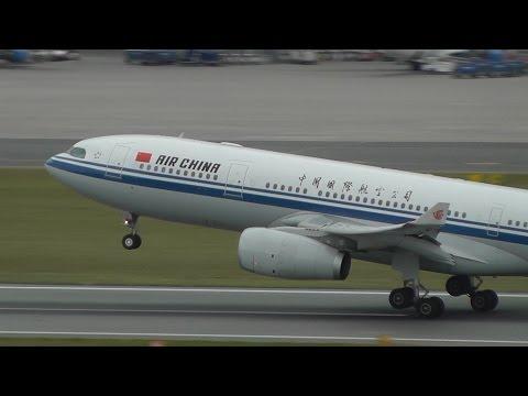 Air China A330 Beijing - Warsaw Inaugural flight. Water salute and takeoff