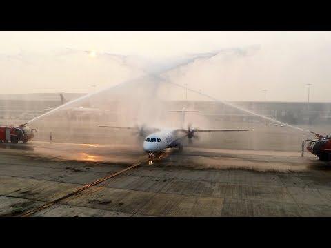 MASSIVE Water Cannon Salute for IndiGo ATR 72-600 (VT-IYA) at DELHI IGI Airport [FULL Video]