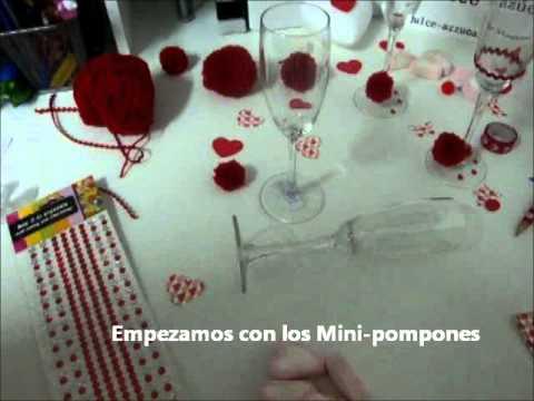 Como decorar unas copas para san valentin youtube for Como decorar unas