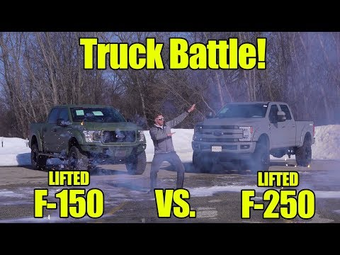 TRUCK BATTLE! LIFTED  Ford F vs LIFTED Ford F SCA Performance Armed Forces Edition!