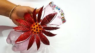 How to make showpiece from waste plastic bottle step by step at home|christmas decoration idea