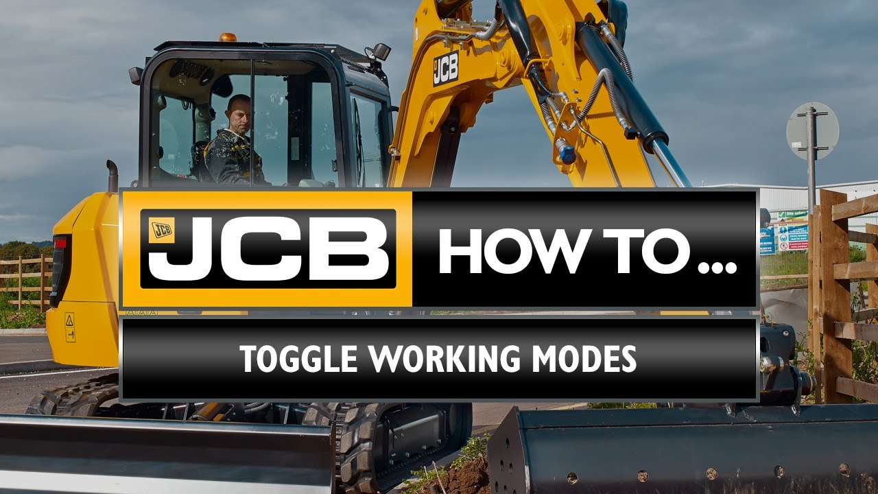How to change between working modes on a JCB 4-6 tonne mini excavator