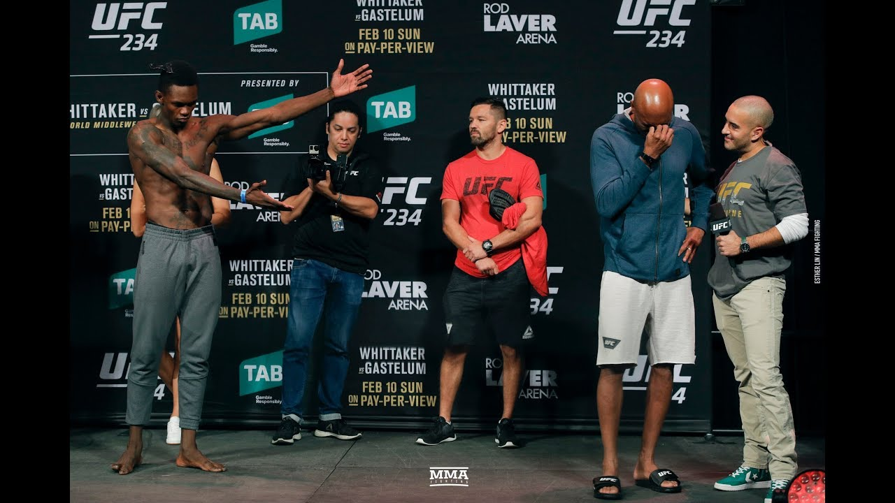UFC 234 Anderson Silva Breaks Into Tears After Israel Adesanya Weigh,In  Staredown