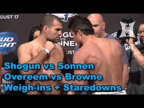 Shogun Rua vs Chael Sonnen, Alistair Overeem vs Travis Browne: Weigh-ins + Staredowns (HD)