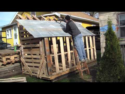 How to Build Free or Cheap Shed from Pallets DIY Garage Storage Boring ...