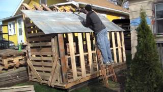 How to Build Free or Cheap Shed from Pallets DIY Garage Storage Boring Long video Pt 1