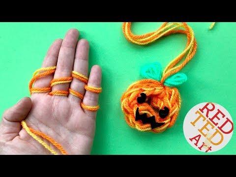 Finger Knitting Pumpkin Ornament DIY   Kawaii Jack O'Lantern Decor DIY