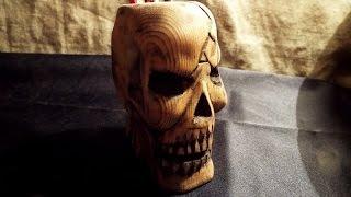деревянный череп стакан своими руками. ручная резьба.как сделать. wood carving, human skull.