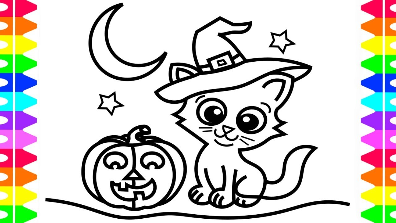 HAPPY HALLOWEEN COLORING Learning How To Draw A Kitten For Children