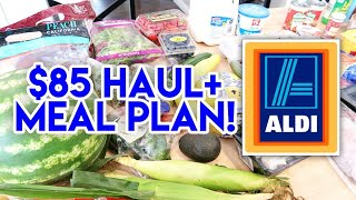 🧡 $85 ALDI HAUL + MEAL PLAN! 🛒 FAMILY OF 4 GROCERY HAUL AT ALDI US
