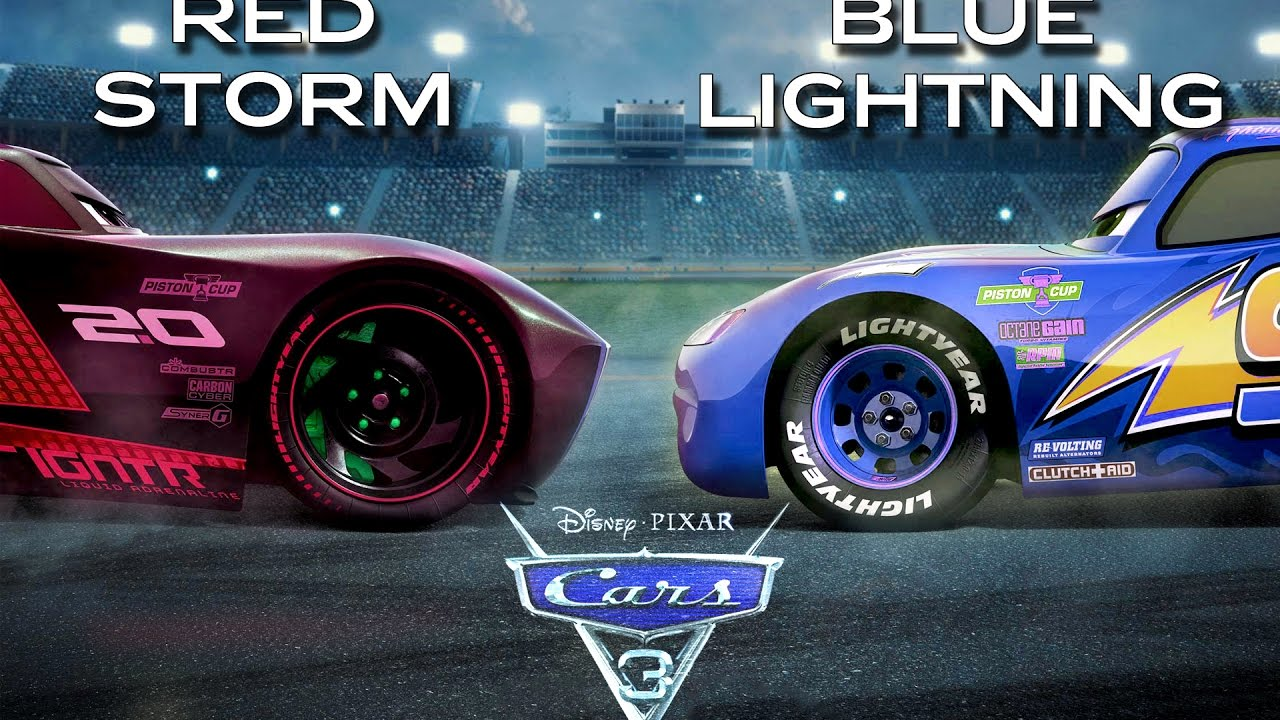 Cars 3 Red Jackson Storm Vs Blue Lightning Mcqueen Edited