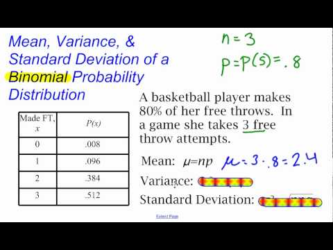 Mean variance and standard deviation of a binomial probability mean variance and standard deviation of a binomial probability distribution youtube ccuart Image collections