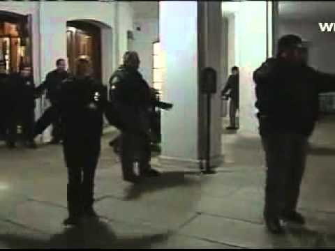 Police tackle Wisconsin Democrat  Nick Milroy at Wisconsin capitol 3/4/11