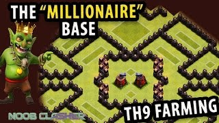 Clash Of Clan | Best Town Hall 9 (TH9) Farming Base 2015 | Protect Dark Gold Elixir