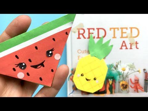 Easy Kawaii Melon Bookmark Corner   Melon & Pineapple Paper DIYs