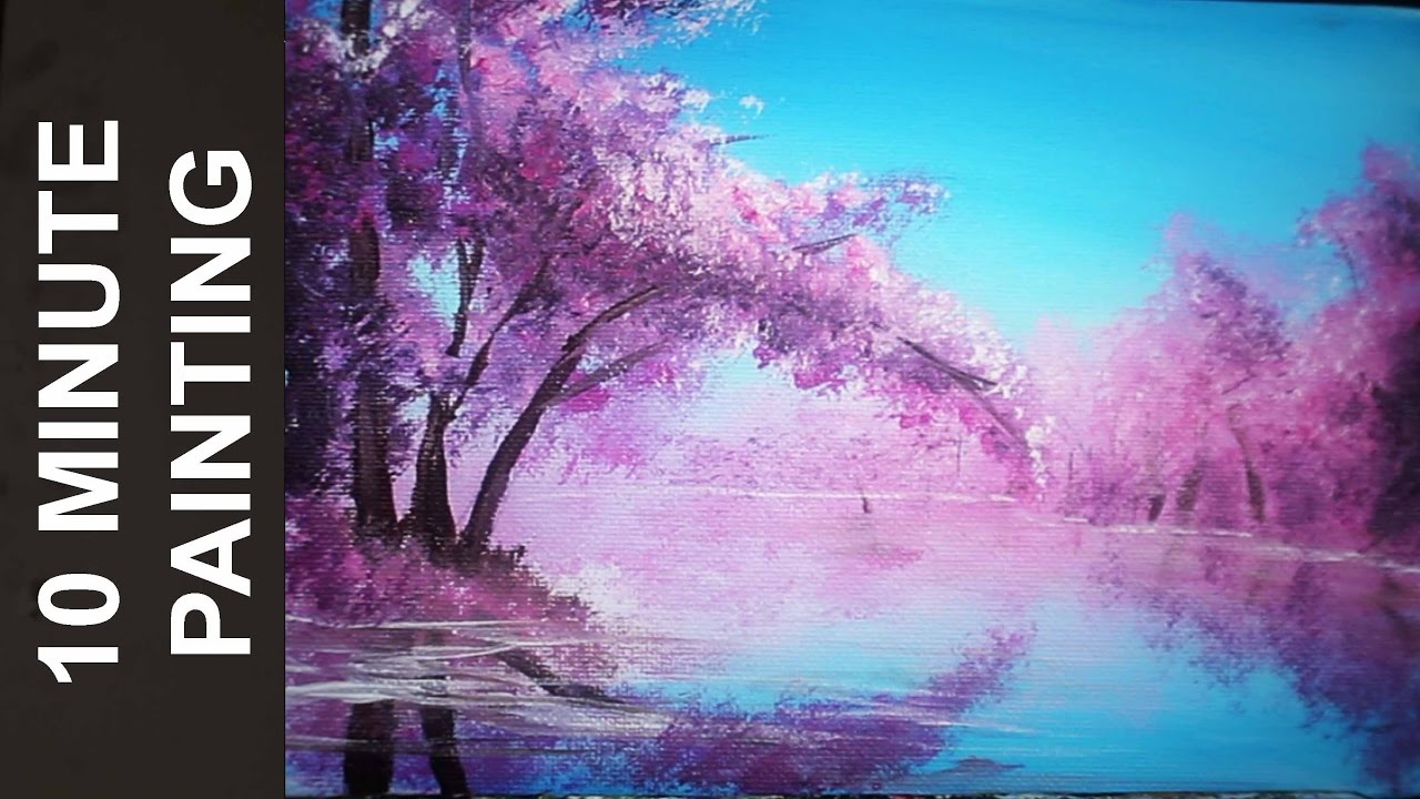 Painting A Cherry Blossom Tree Along The River With