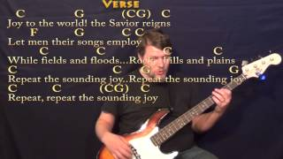 Joy to the World - Bass Guitar Cover Lesson in C with Chords/Lyrics