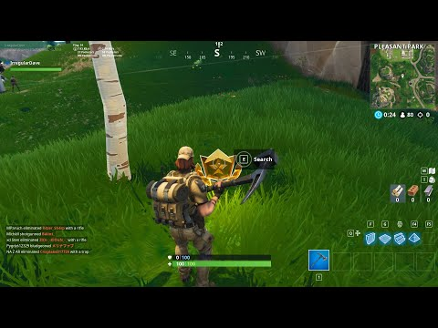 Fortnite - Search Between Gas Station, Soccer Pitch, Stunt Mountain Challenge Guide