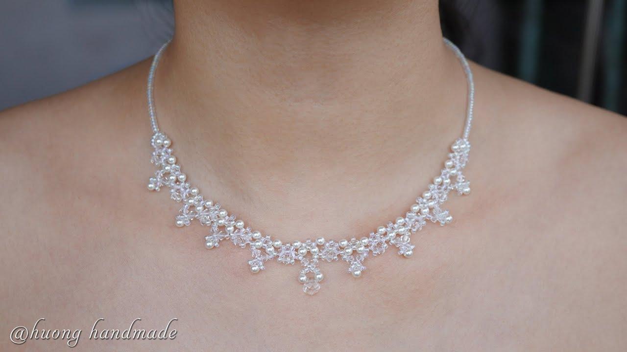 DIY elegant beaded necklace. Wedding necklace tutorial