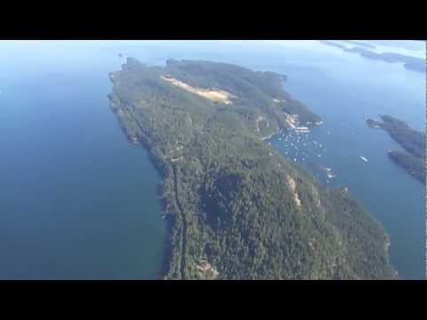 Victoria BC-to-Vancouver flight: takeoff, Gulf Islands, New Westminster, landing 2011-08-20