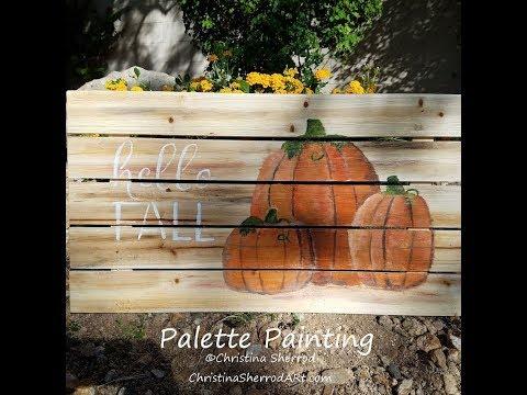 Palette Wood Pumpkins Painting