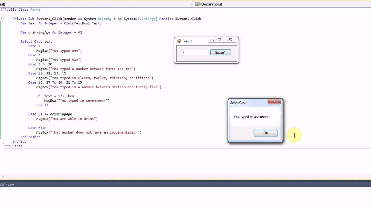 VB.NET: Using Select Case Blocks - YouTube