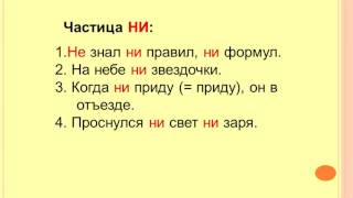 Различение на письме частиц НИ и НЕ