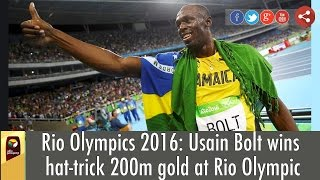 Rio Olympics 2016: Usain Bolt wins hat-trick 200m gold