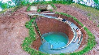 Build Swimming Pool Water Slide Around Secret Underground House - Full Video