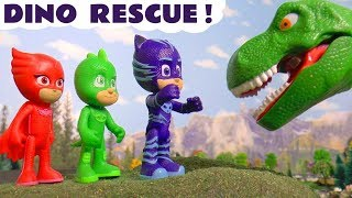 PJ Masks rescue Jurassic World dinosaurs with Thomas and Friends toy trains and funny Funlings TT4U