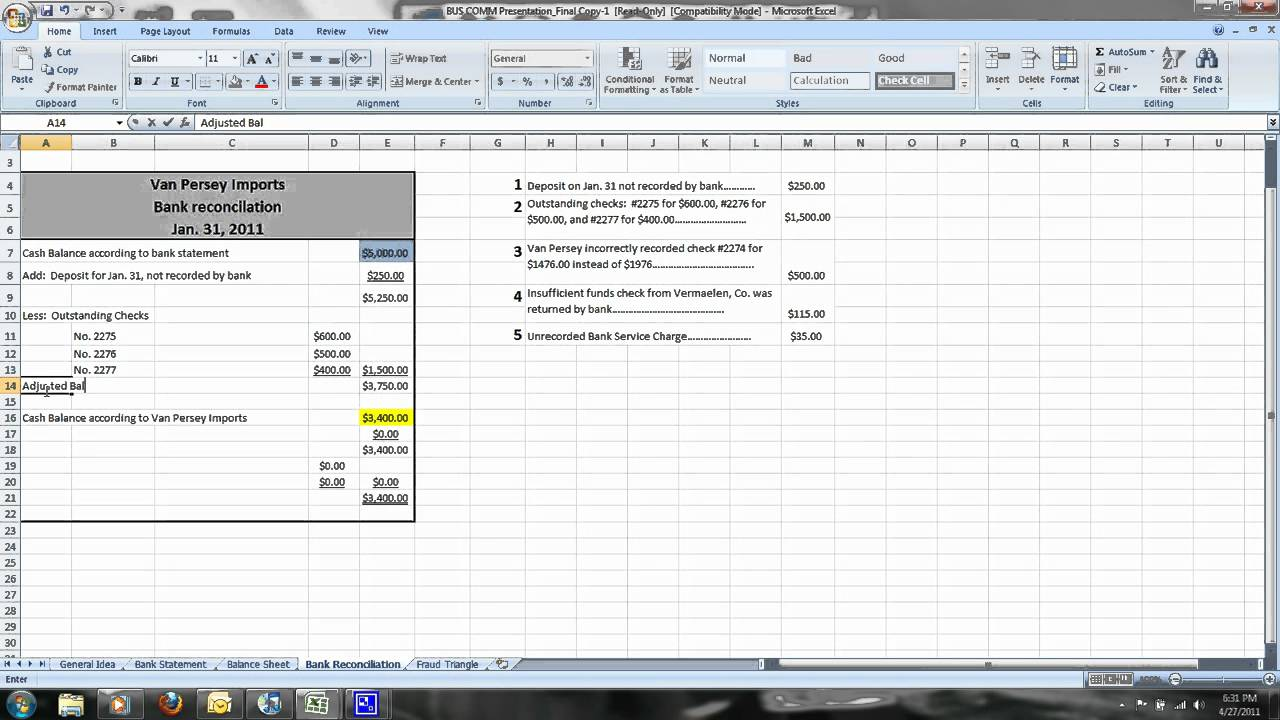 how to do a simple bank reconciliation youtube