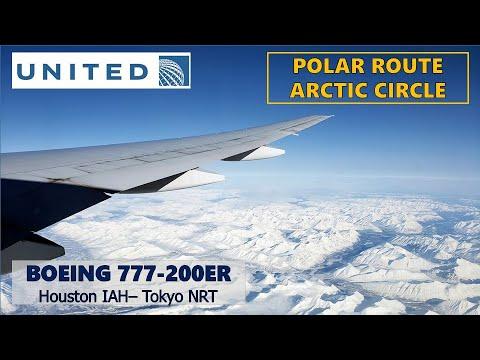 Polar Route (Arctic Circle) United Boeing 777-200ER Houston - Tokyo Narita