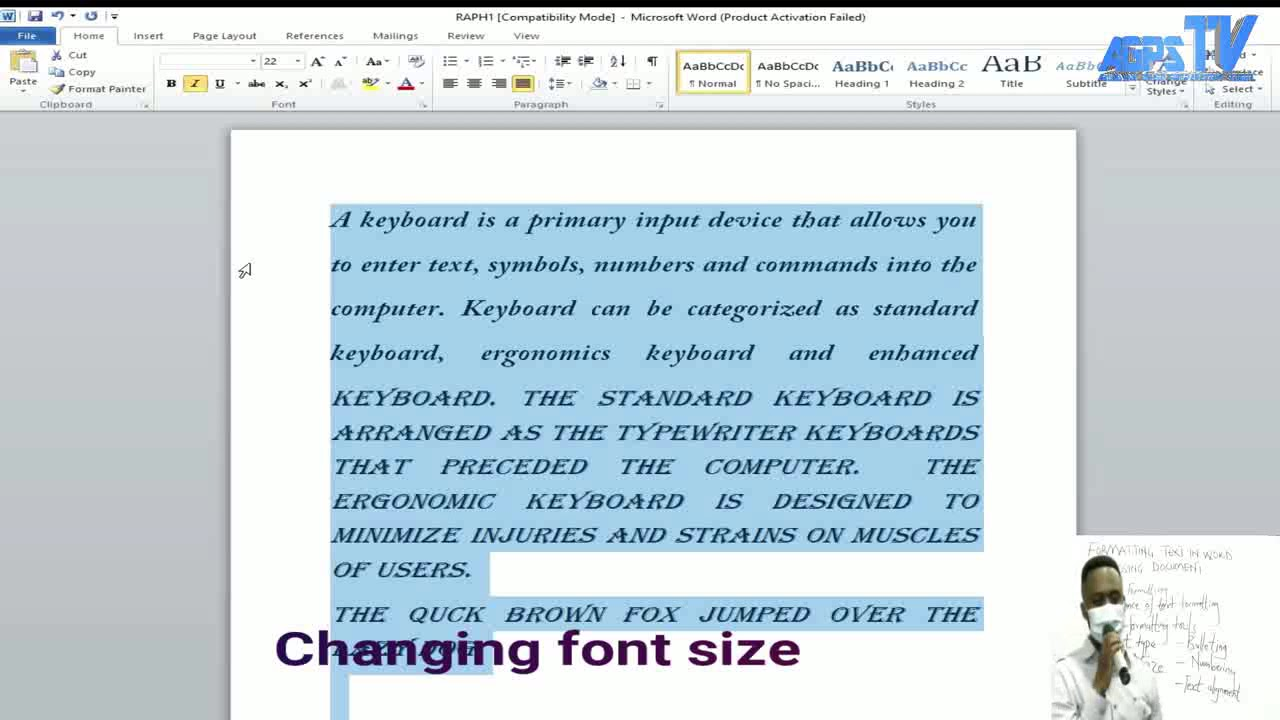 ICT / FORMATTING TEXT IN WORD PROCESSING DOCUMENT (Practical Lessons) - YouTube