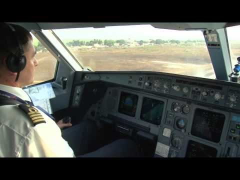 Cockpit A330 - Visual into Conakry, Guinea (2011)