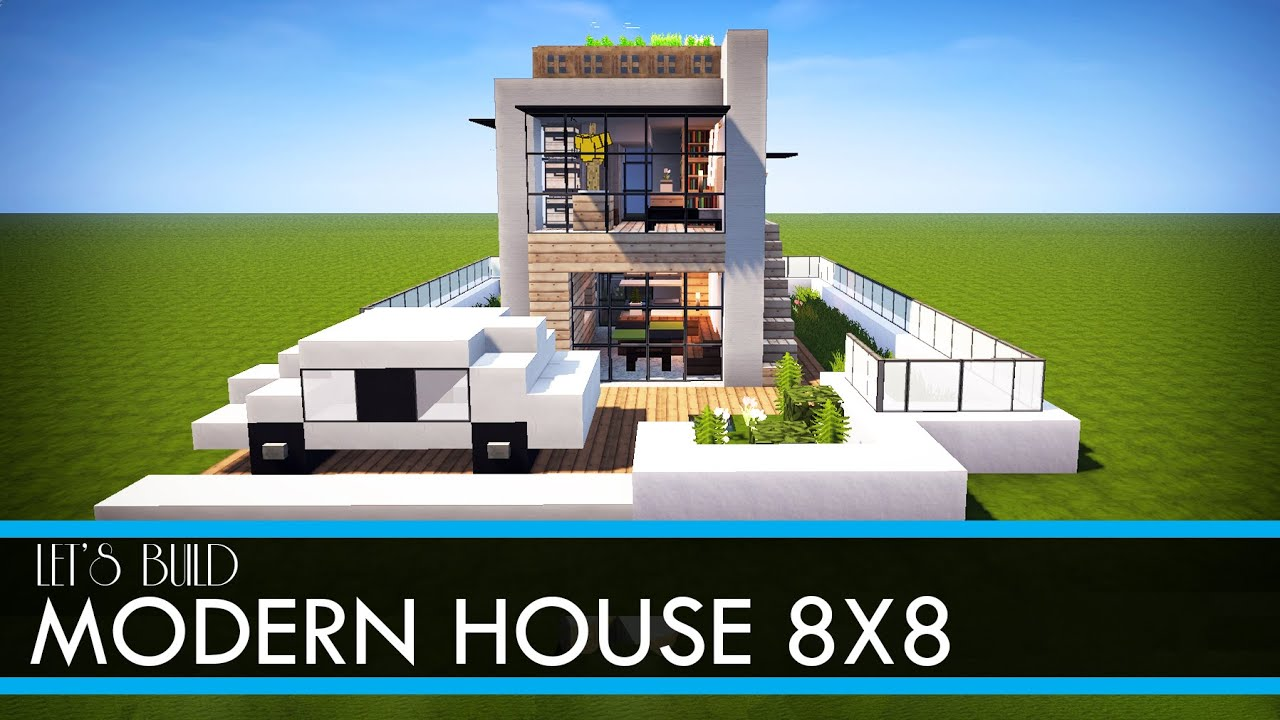 Minecraft let 39 s build 8x8 modern house tutorial for Minecraft modern house 9minecraft