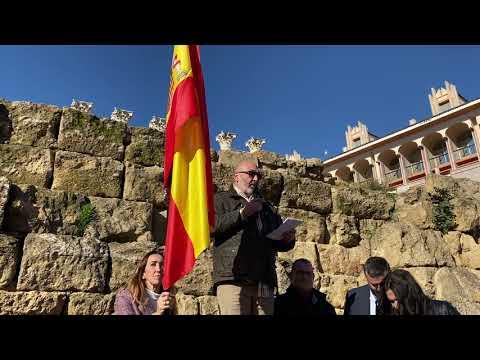 El portavoz de Vox, Alejandro Hernández, habla en la concentración de la plataforma España Existe