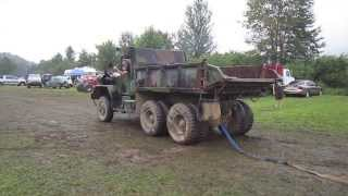 M817 5ton dump truck pulls RV, Jeep and Trailer out of the Mud