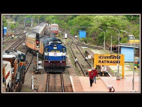 22119 Mumbai - Karmali Tejas Express Arriving Ratnagiri with Kalyan WDM-3D Twins