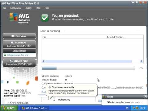 Performing A Virus Scan With AVG Free Anti Virus - Windows XP