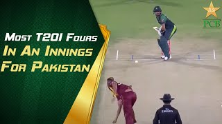 Most T20I Fours In An Innings For Pakistan - Babar Azam (13 Fours) Against West Indies At NSK 2018