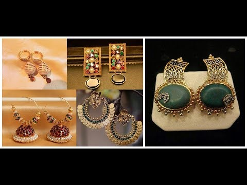 Decent pakistani designer jewellery=Gold earrings design for women