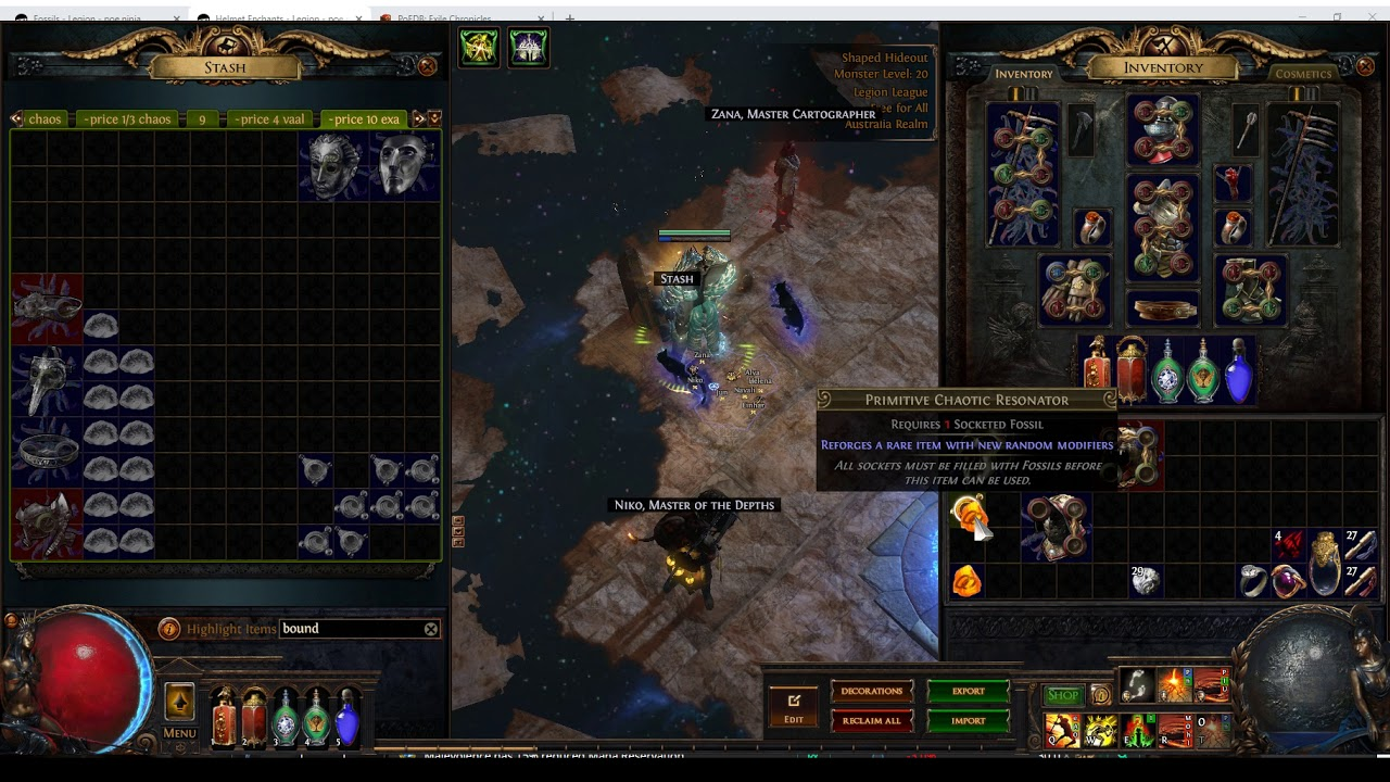 Path of Exile - Crafting with Enchanted Fossils for profit in Legion League